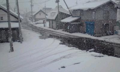 道路にも雪